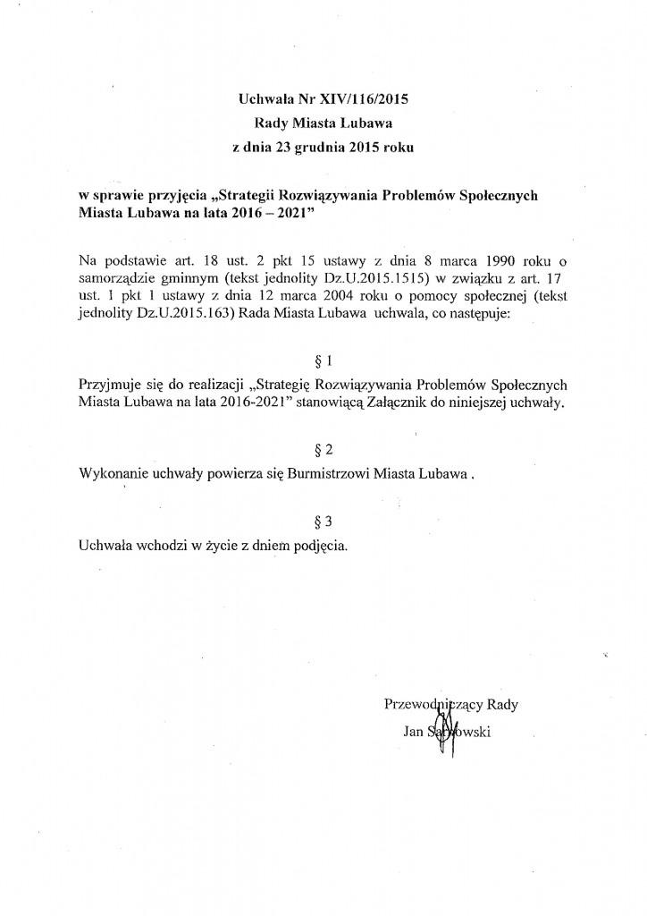 Uchwała Nr XIV-116-2015